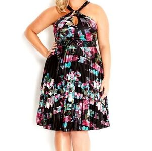 City Chic Floral Beaded Pleated Halter dress